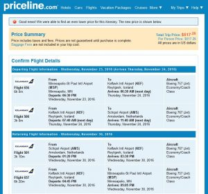 MSP-AMS: Priceline Booking Page