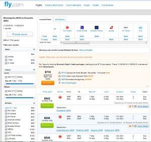 MSP-BRU: Fly.com Search Results