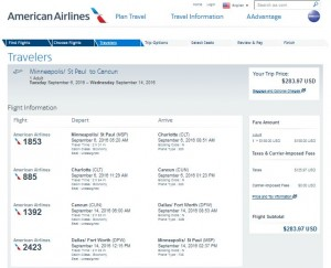 MSP-CUN: American Airlines Booking Page