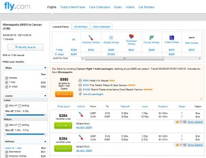 MSP-CUN: Fly.com Search Results