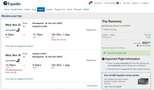 MSP-LON: Expedia Booking Page