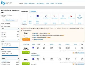 MSP-MEL: Fly.com Search Results ($841)