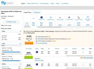 MSP-MEL: Fly.com Search Results ($858)