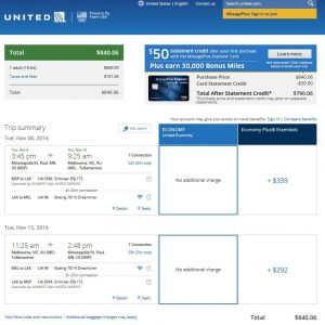 MSP-MEL: United Airlines Booking Page ($841)