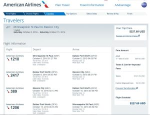 MSP-MEX: American Airlines Booking Page