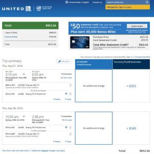 MSP-SYD: United Airlines Booking Page ($853)