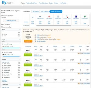 NYC to Los Angeles: Fly.com Results