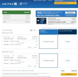 Phoenix to Mexico City: United Airlines Booking Page