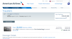 Chicago to Orlando: AA Booking Page