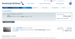 New Orleans to NYC: AA Booking Page