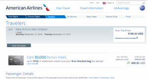 NYC to New Orleans: AA Booking Page