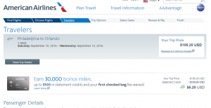 Philly to Orlando: AA Booking Page