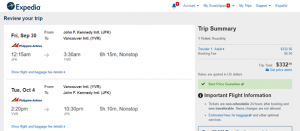 NYC to Vancouver: Expedia Booking Page
