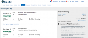 Atlanta to NYC: Expedia Booking Page