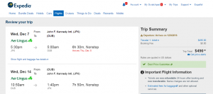 NYC to Dublin: Expedia Booking Page