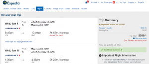 NYC to Milan: Expedia Booking Page