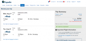 Oakland to Kauai: Expedia Booking Page