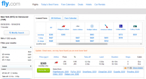 NYC to Vancouver; Fly.com Results Page