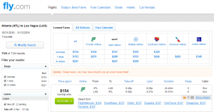 Atlanta to Vegas: Fly.com Results Page