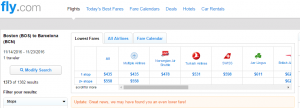 Boston to Barcelona: Fly.com Results Page