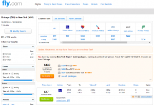 Chicago to NYC: Fly.com Results Page