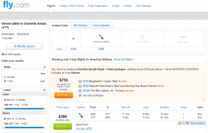 Denver to St Thomas: Fly.com Results Page