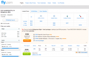 Fort Lauderdale to Barbados: Fly.com Results Page
