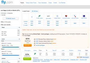 Vegas to Atlanta: Fly.com Results Page