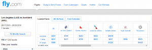 LA to Auckland: Fly.com Results Page