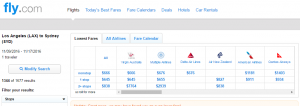 LA to Sydney: Fly.com Results Page
