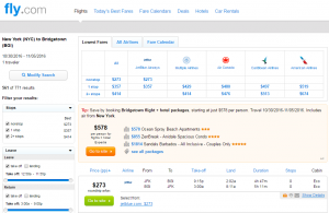 NYC to Barbados: Fly.com Results Page