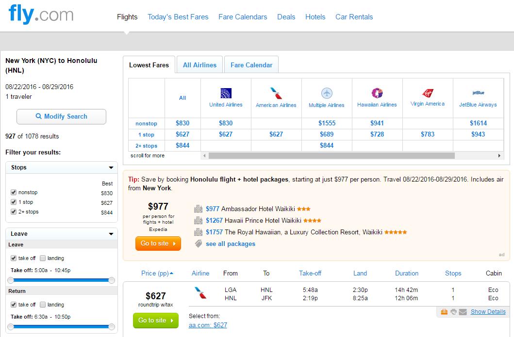 Hnl flight deals