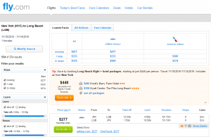 NYC to Long Beach: Fly.com Results Page