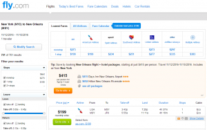 NYC to New Orleans: Fly.com Results Page