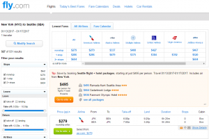 NYC to Seattle: Fly.com Results Page