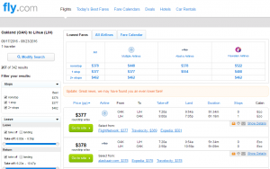 Oakland to Kauai: Fly.com Results Page