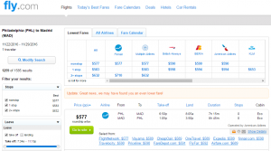 Philly to Madrid: Fly.com Results Page