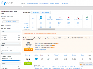 Philly to Rome: Fly.com Results Page