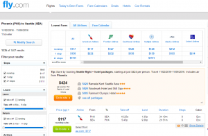 Phoenix to Seattle: Fly.com Results Page