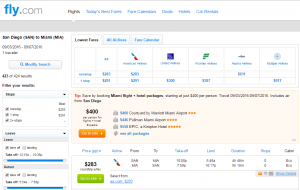 San Diego to Miami: Fly.com Results Page