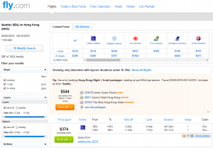 Seattle to Hong Kong: Fly.com Results Page