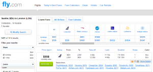 Seattle to London: Fly.com Results Page