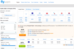 Seattle to Shanghai: Fly.com Results Page