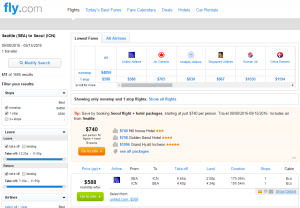 Seattle to Seoul: Fly.com Results Page
