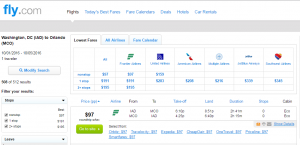 D.C. to Orlando: Fly.com Booking Page
