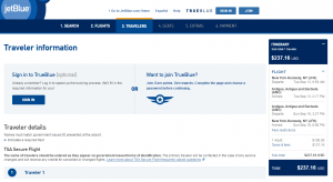 NYC to Antigua: JetBlue Booking Page