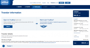 D.C. to Charleston: JetBlue Booking Page