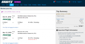Atlanta to Vegas: Orbitz Booking Page