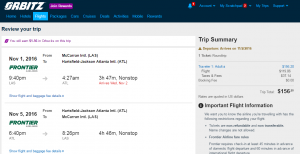 Vegas to Atlanta: Orbitz Booking Page