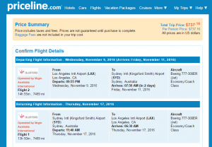 LA to Sydney: Priceline Booking Page